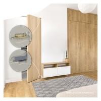 Drehtürscharnier für Holztüren, Endkappen Edelstahl oder Schwarz 158 x 47 x 33mm
