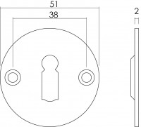 Technische Zeichnung: Rosette rund flach mit Schlüsselloch 50 mm Edelstahl gebürstet von Intersteel