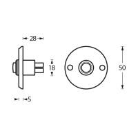 Technische Zeichnung: Türklingel rund Chrom von Intersteel