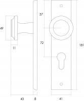 Technische Zeichnung: Knauf auf rechteckigem Schild mit Profilzylinder-Lochung 72 mm Messing lackiert von Intersteel