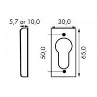 Schiebe-Schutzrosette Aluminium Silber F1 Ausführung Eckig 65 x 30mm Stärke 5,7mm