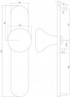 Technische Zeichnung: Knauf Pilz auf blindem Schild mit Nocken Edelstahl gebürstet von Intersteel