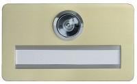 Namenschild aus Aluminium mit Türspion Ausführung F2 neusilbereloxiert 120mm Breite
