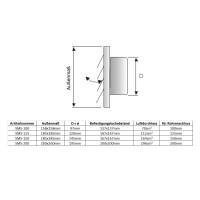 Lamellengitter Edelstahl Überdruckgitter mit Anschlussstutzen Abluftgitter