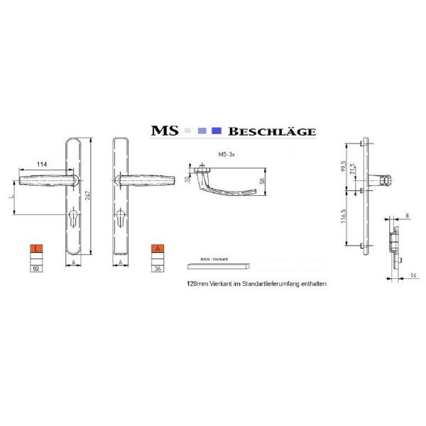 Schmalrahmengarnitur Wechselgarnitur 92mm mit Kernziehschutz Silber Dr/Dr