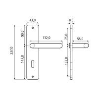 Langschildgarnitur Modell Hamlett Aluminium Türdrücker Silber F1 vers. Schlossformen