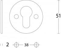 Technische Zeichnung: PZ-Schutzrosette rund flach 50 mm Edelstahl gebürstet von Intersteel