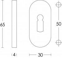 Technische Zeichnung: Rosette oval verdeckt mit Schlüsselloch Edelstahl gebürstet 4 mm von Intersteel