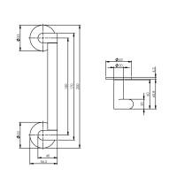 Technische Zeichnung: Stoßgriff Erik Munnikhof Dock Black 200 mm Edelstahl poliert von Intersteel