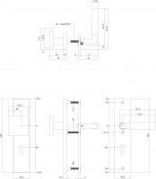 Technische Zeichnung: Sicherheitsbeschlag SKG3 rechteckig mit Profilzylinder-Lochung 92 mm Messing unlackiert von Intersteel