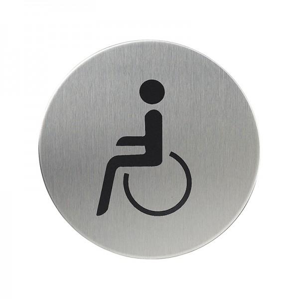 WC-Hinweisschild Rollstuhlfahrer Hinweisschild Rollstuhlfahrer rund, Edelstahl matt