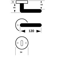Rosettengarnitur Silvretta-R Türdrücker Türbeschlag Schmiedeeisen Stahlgrau