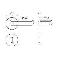 Türdrücker Modell Attila-R-brüniert aus Messing Ausführung brüniert verschiedene Rosetten