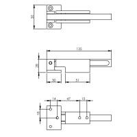 Technische Zeichnung: Sperrbügel Bauhaus gebürsteter Edelstahl von Intersteel