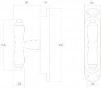 Technische Zeichnung: Fenster-Stangenschloss mit Kreuzgriff Messing lackiert von Intersteel