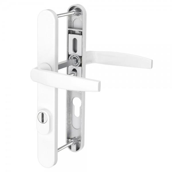 Schmalrahmengarnitur Wechselgarnitur 92mm Weiß Dr/Dr mit Kernziehschutz