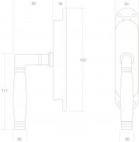 Technische Zeichnung: Fenster-Stangenschloss Ton 222 rechts Messing unlackiert/Ebenholz von Intersteel