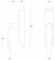 Technische Zeichnung: Fenster-Stangenschloss links Messing brüniert von Intersteel