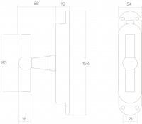 Technische Zeichnung: Fenster-Stangenschloss mit Griff in T-Form Messing unlackiert von Intersteel