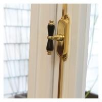 Fenster-Stangenschloss mit Kreuzgriff Messing lackiert