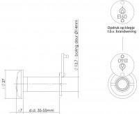 Technische Zeichnung: Türspion 200° Blickwinkel Messing lackiert 60 Minuten feuerhemmend von Intersteel