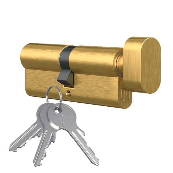 Knopfzylinder Knaufzylinder Profilzylinder mit Knopf vermessingt 30mmx30mm