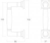 Technische Zeichnung: Stoßgriff Ton 150 mm Messing lackiert Ebenholz von Intersteel