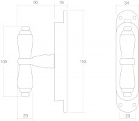 Technische Zeichnung: Fenster-Stangenschloss Zucchini Kreuzfenstergriff Chrom von Intersteel