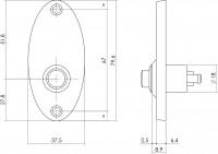 Technische Zeichnung: Türklingel Ellipse klein Chrom von Intersteel