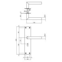Renovierungsschild Türdrücker Türgriff extra Breit Edelstahl matt gebürstet