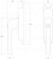 Technische Zeichnung: Fenster-Stangenschloss abschließbar rechts Messing lackiert von Intersteel