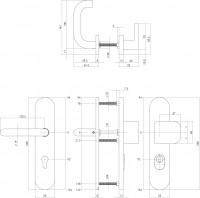 Technische Zeichnung: Sicherheitsbeschlag SKG3 mit Profilzylinder-Lochung 92 mm und Kernziehschutz oval Vordertürbeschlag Edelstahl gebürstet von Intersteel