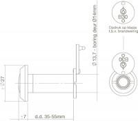 Technische Zeichnung: Türspion 200° Blickwinkel Messing lackiert 30 Minuten feuerhemmend von Intersteel