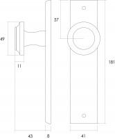 Technische Zeichnung: Knauf auf rechteckigem, blindem Schild Messing lackiert von Intersteel