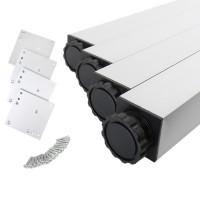 4er Set Tischfüße Tischbeine Aluminium Tischstempel eckig 46x46mm Chrom matt