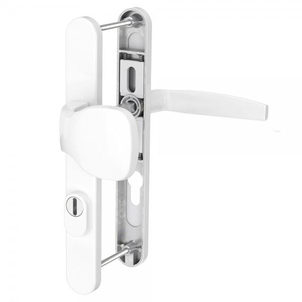 Schmalrahmengarnitur Wechselgarnitur mit Kernziehschutz 92mm Weiß Dr/Kn