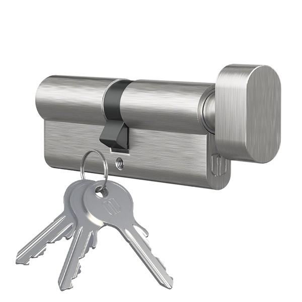 Knopfzylinder Türschloss Profilzylinder mit Knopf vernickelt 25mmx35mm